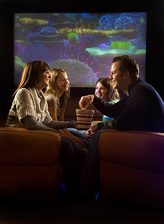 family home theater stock photo