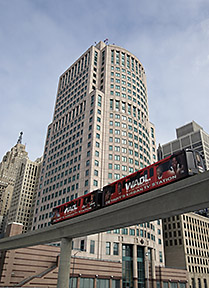 Detroit downtown, people mover